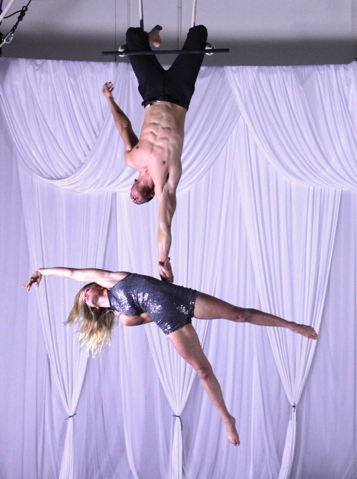 Instructors perform at AerialWorks
